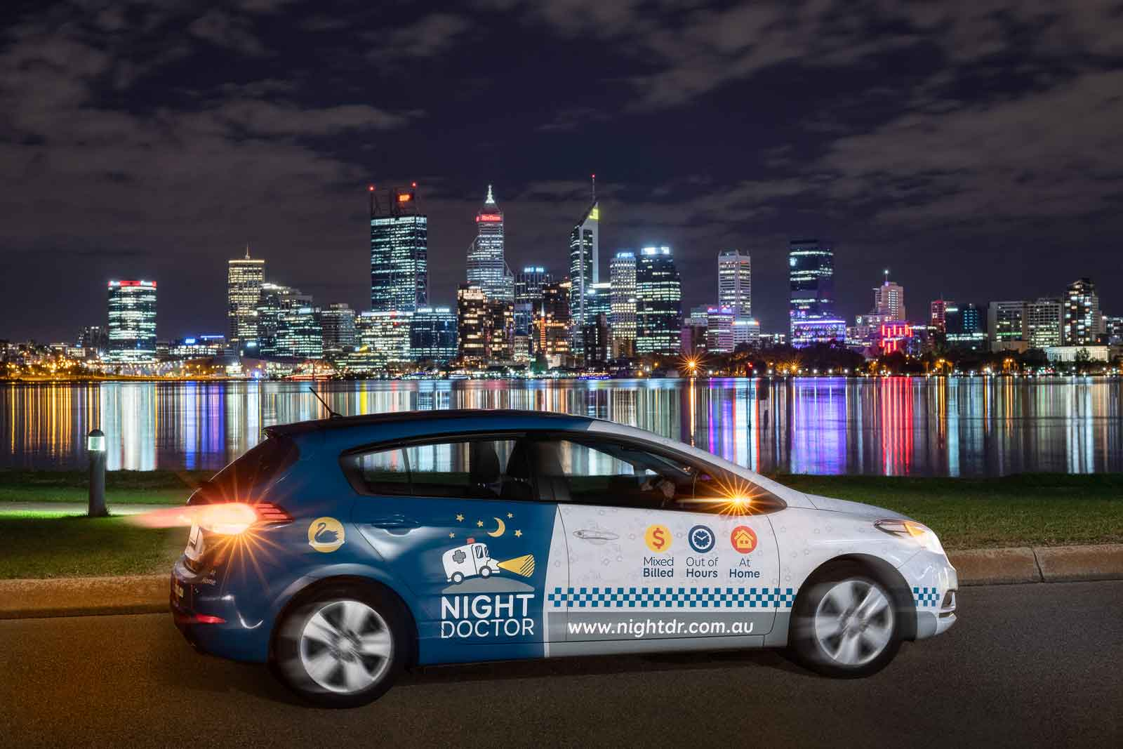 Photo of Perth cityscape and a home doctor service car